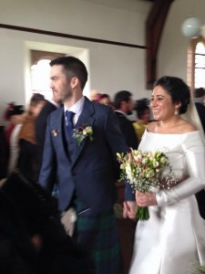 Mr and Mrs Ross Scobie leaving Glenartney Church following their marriage service