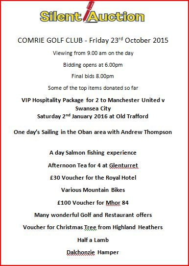 Comrie GC Silent Auction