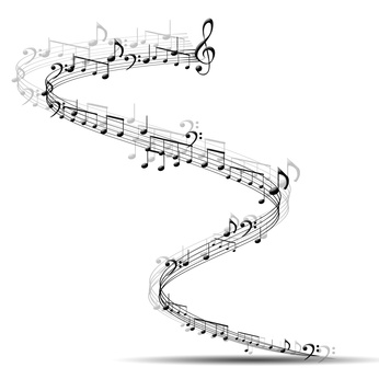 composition made of note sing against white background as symbol of music