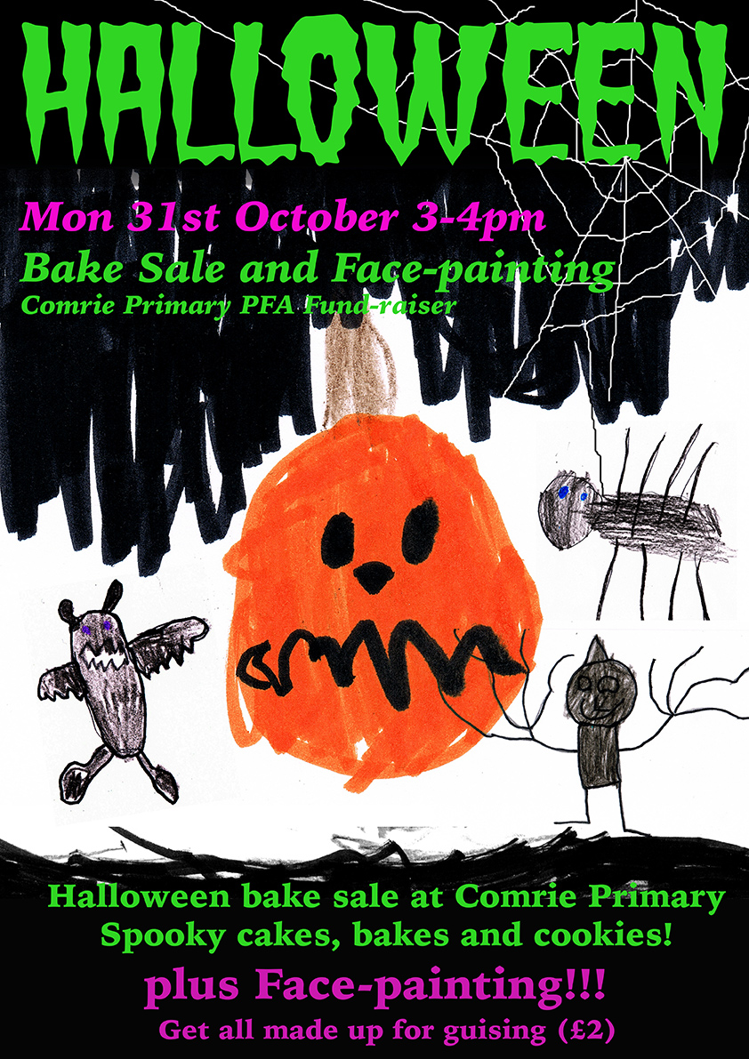 comrie primary halloween bake-sale/face-painting and traditional