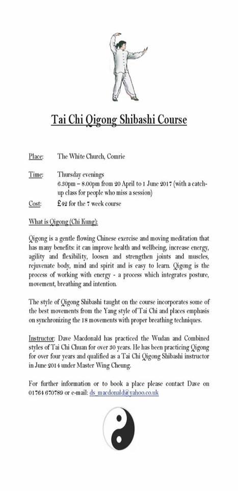 Tai Chi Qigong Shibashi Course – Comrie
