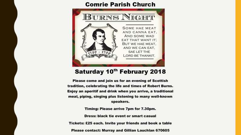 Comrie Parish Church Burns Night 10th February Comrie